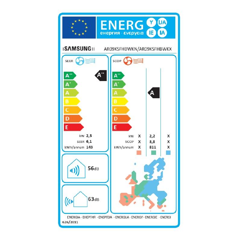 52d996d88 Energeticky stitok SAMSUNG BORACAY AR 4700 (2,5 kW) - nastenna klimatizacia